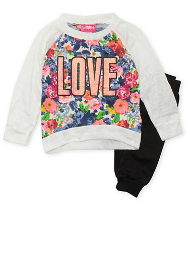 Girls 4-6x Printed Top and Joggers Set with Love Graphic,IVORY,large
