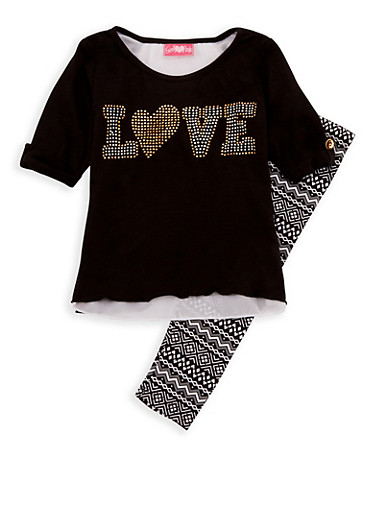 Girls 4-6x Love Graphic Top with Printed Leggings,BLACK,large