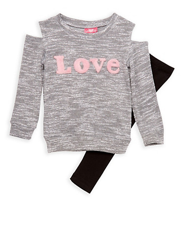 Girls 4-6x Cold Shoulder Fuzzy Love Graphic Knit Top and Leggings Set,BLACK,large