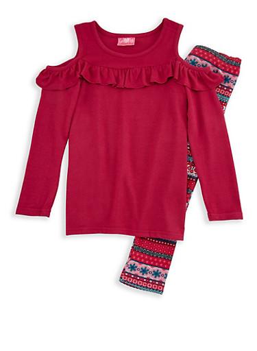 Girls 4-6x Long Sleeve Ruffled Top with Printed Leggings Set,MAGENTA,large