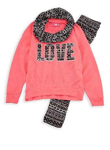 Girls 4-6x Love Sweatshirt with Printed Leggings and Scarf,NEON PINK,large