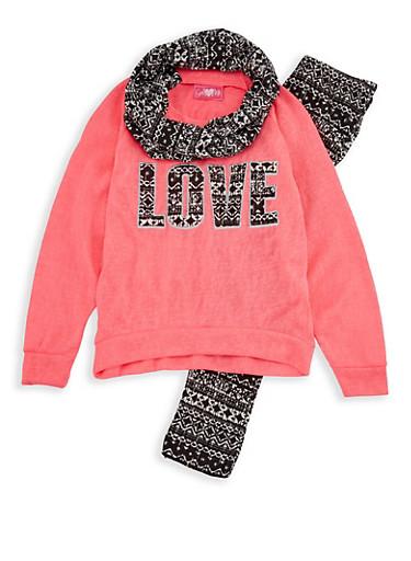 Girls 4-6x Love Sweatshirt with Printed Leggings and Scarf,NEON PINK,large