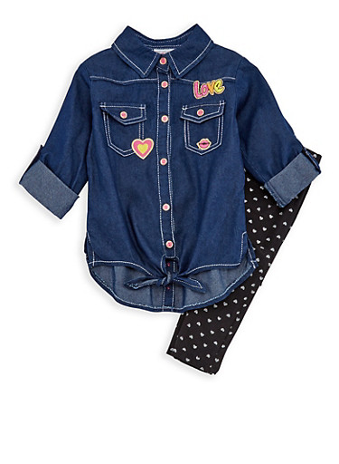 Girls 4-6x Graphic Denim Tunic Top with Glitter Heart Leggings,BLACK,large