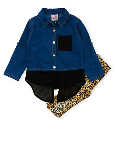 Girls 4-6x Denim and Chiffon Button Front Top with Leopard Print Leggings Set,DENIM,large