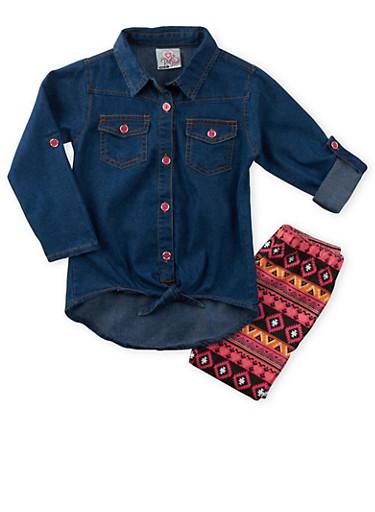 Girls 4-6x Denim Shirt and Printed Leggings Set,PINK,large