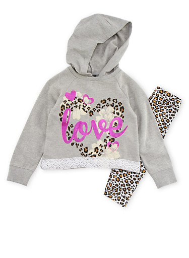 Girls 4-6x High Low Hoodie and Leggings with Love Print,CHARCOAL,large