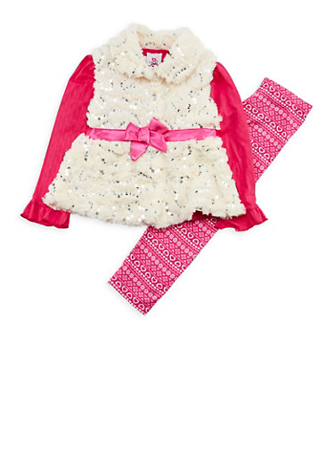 Girls 4-6x Sequins Faux Fur Vest with Top and Leggings,IVORY,large