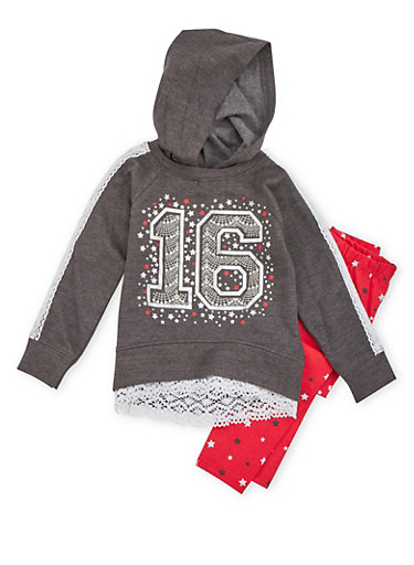 Girls 4-6x Star Graphic Hoodie and Leggings Set,BLACK,large