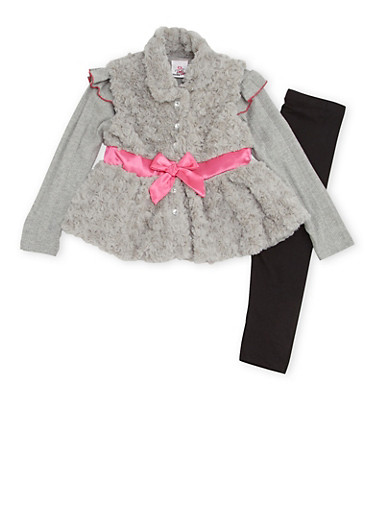Girls 4-6x Faux Fur Vest with Top and Leggings Set,HEATHER,large