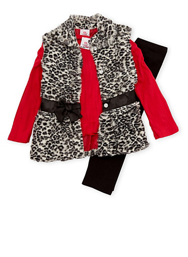 Girls 4-6x Top with Faux Fur Vest and Leggings Set,RED,large