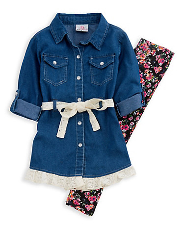 Girls 4-6x Denim Lace Top with Floral Leggings,BLACK,large