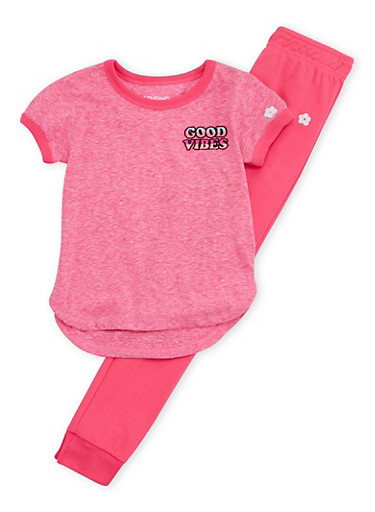 Girs 4-6x Good Vibes T Shirt and Jogger Set,FUCHSIA,large