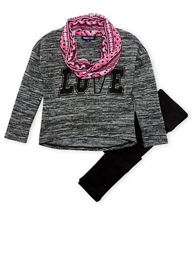 Girls 4-6x Limited Too Knit Top with Scarf and Leggings Set,BLACK,large