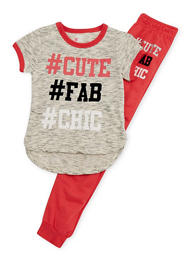 Girls 4-6x Limited Too Graphic Hashtag T Shirt and Jogger Set,CORAL,large