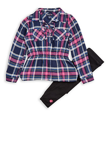 Girls 4-6x Limited Too Plaid Lace Up Tunic Top with Leggings,PINK,large