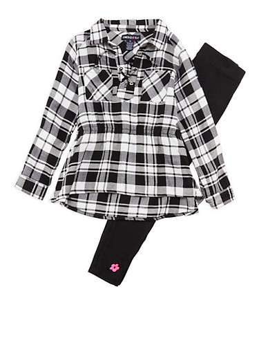 Girls 4-6x Limited Too Plaid Lace Up Top with Leggings Set,BLACK/WHITE,large