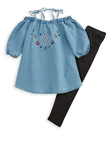 Girls 4-6x Limited Too Off the Shoulder Top and Leggings Set,DENIM,large