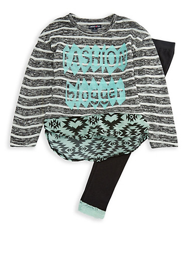 Girls 4-6x Limited Too Knit Graphic Top and Leggings Set,MINT,large