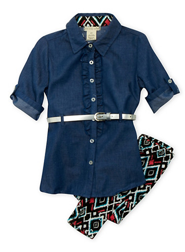 Girls 4-6x Chambray Ruffle Tunic Top with Aztec Print Leggings and Belt,MULTI COLOR,large