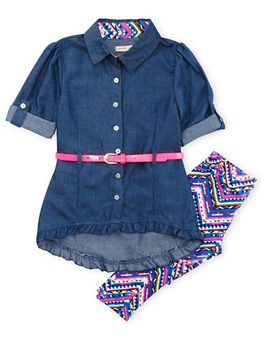 Girls 4T-6x Belted Chambray Button Front Dress with Printed Leggings Set,MULTI COLOR,large