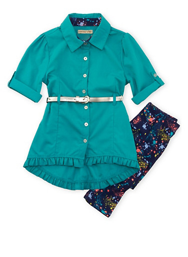Girls 4-6x Belted Tunic Top and Printed Leggings Set,JADE,large