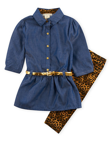 Girls 4-6x Belted Chambray Dress with Leopard Print Leggings Set,LEOPARD PRINT,large