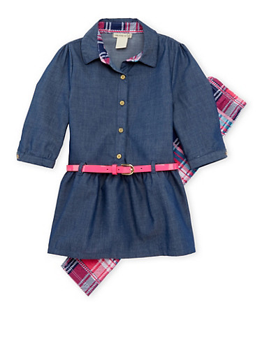 Girls 4-6x Belted Chambray Top and Plaid Leggings,MULTI COLOR,large