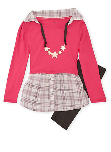 Girls 4-6x Top with Removable Necklace and Jeggings Set,PINK,large