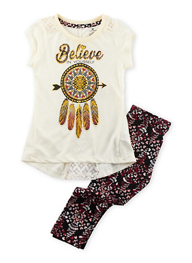 Girls 4-6x Graphic T-Shirt and Printed Leggings Set,IVORY,large