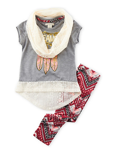 Girls 4-6x High-Low Top with Printed Leggings and Scarf Set,MED HEATHER GRY,large