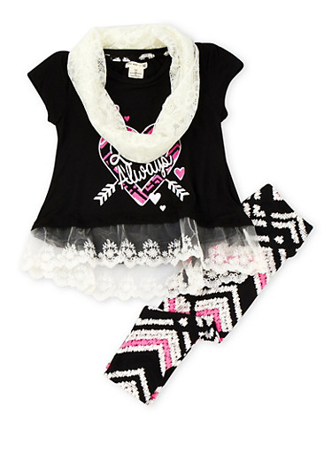 Girls 4-6X Love Always Graphic Lace Hem Top and Leggings Set with Infinity Scarf,BLACK,large