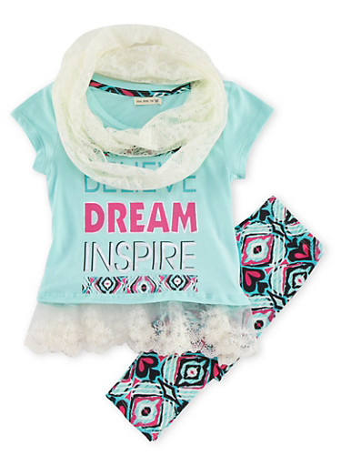 Girls 4-6x Tunic Top with Leggings and Infinity Scarf Set,MINT,large