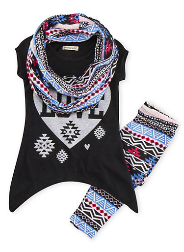 Girls 4-6x Tunic Top with Leggings and Infinity Scarf Set,BLACK,large