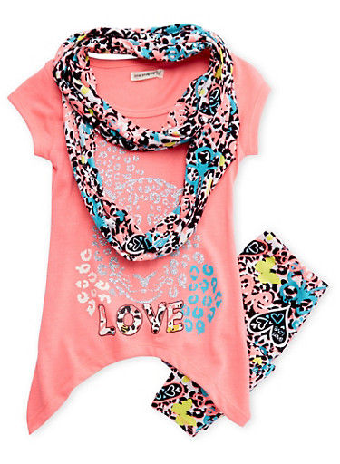 Girls 4-6x Tunic Top and Leggings Set,NCORAL,large