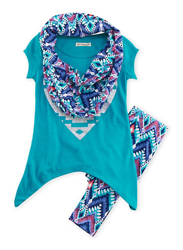 Girls 4-6x Glitter Graphic Tunic Top with Leggings and Scarf Set,JADE,large