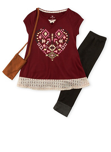 Girls 4-6x Graphic Top with Denim Knit Leggings and Purse,BURGUNDY,large