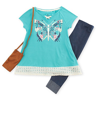 Girls 4-6x Graphic Top with Denim Knit Leggings and Purse,MINT,large