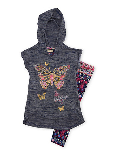 Girls 4-6x Hooded Graphic Top with Printed Leggings Set,BLUE,large