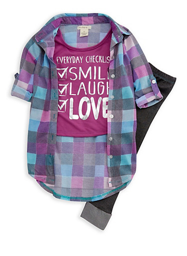 Girls 4-6x Plaid High Low Graphic Top with Leggings,BLACK,large