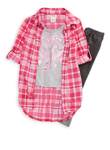 Girls 4-6x Plaid Foil Graphic Shirt and Knit Denim Leggings Set,PINK,large