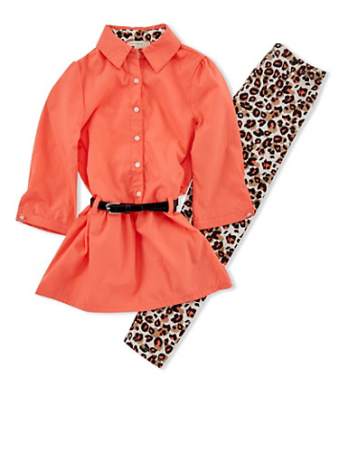 Girls 4-6x Drop Waist Shirt and Leopard Leggings Set,CORAL,large