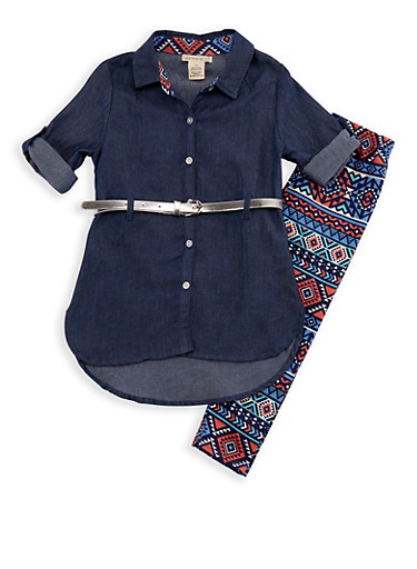 Girls 4-6x Belted Denim Top and Printed Leggings Set,DENIM,large