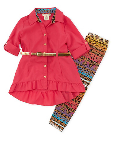 Girls 4-6x Belted Shirt with Printed Leggings,CORAL,large