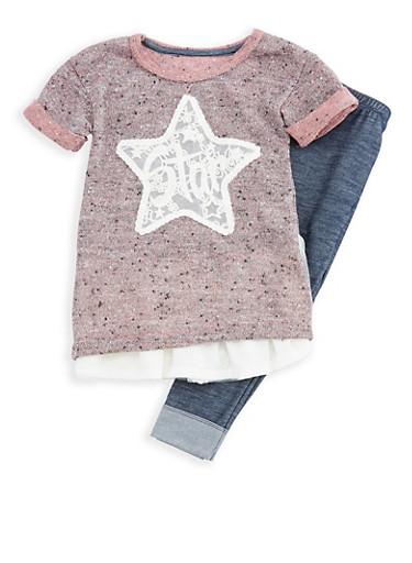 Girls 4-6x Short Sleeve Knit Star Top with Denim Knit Leggings Set,SALMON ROSE/DK BLUE,large