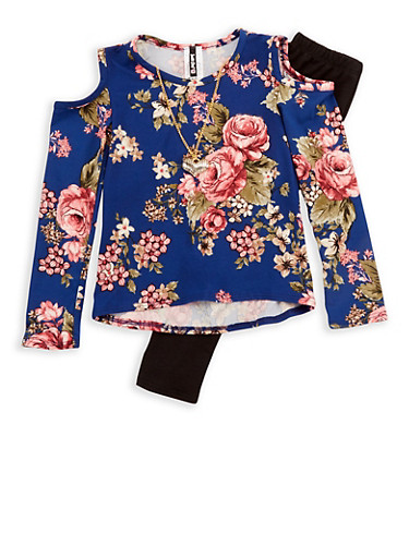 Girls 4-6x Floral Long Sleeve Cold Shoulder Top with Detachable Necklace and Solid Legging Set,NAVY,large
