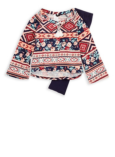 Girls 4-6x Long Sleeve Printed Top with Solid Leggings Set,NAVY,large