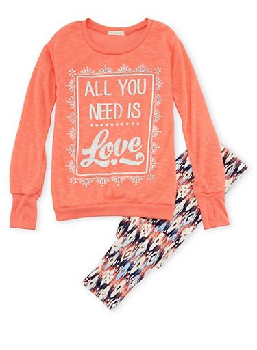Girls 4-6x Sweater and Printed Leggings Set,CORAL MULTI,large