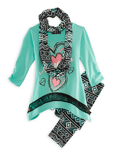 Girls 7-16 Graphic Lace-Accented Top with Printed Leggings and Scarf Set,SEAFOAM,large