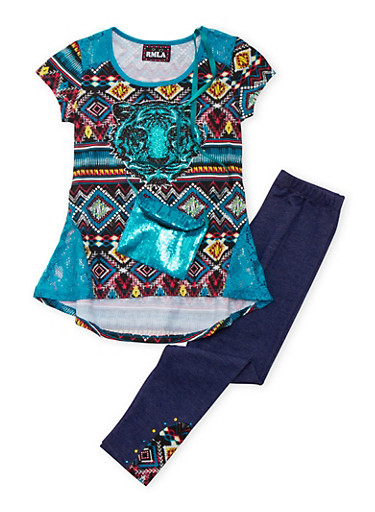 Girls 7-14 Graphic Top and Leggings with Crossbody Bag Set,JADE,large