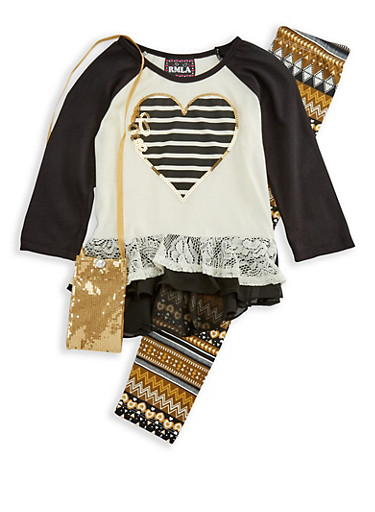 Girls 7-16 Heart Top with Printed Leggings and Purse Set,IVORY,large